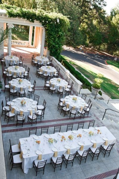 It S Dinner Time Love The Arrangement Of Head Table Seating On Front Veranda At Villa Montalvo