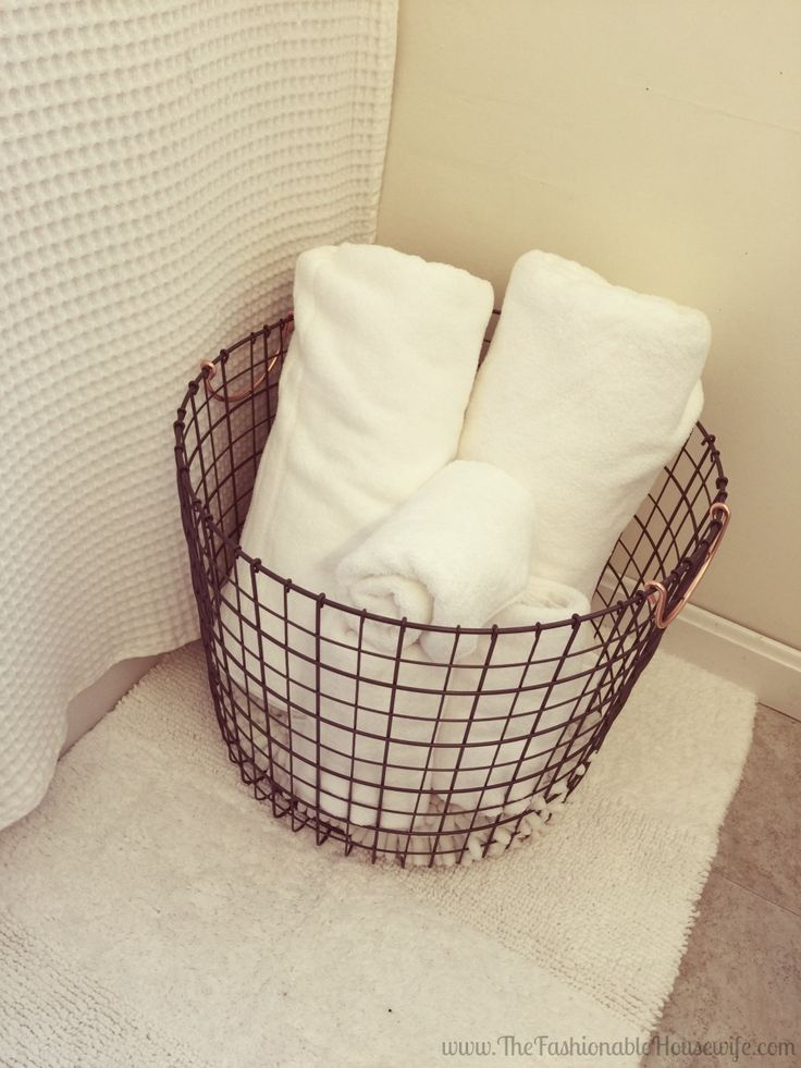 56 best images about the bathroom on pinterest towels wire baskets and bath for What to put in bathroom baskets