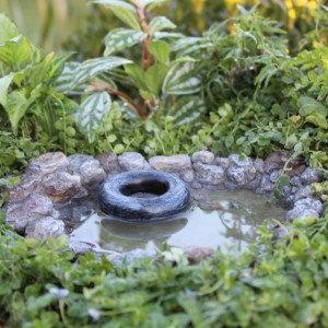 Hadas jardín piedra agua piscina estanque miniatura Gnome Pixie jardín de rocas