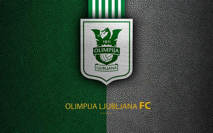 Download wallpapers NK Olimpija Ljubljana, 4k, Slovenian football club, emblem, leather texture, PrvaLiga, Ljubljana, Slovenia, Slovenian First Football League, football
