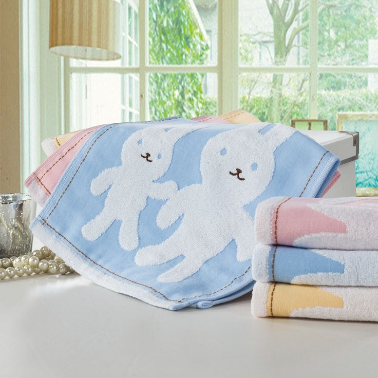 Organic Cotton Cartoon Rabbit Hand Towels On Sale Personalized Patterned Designer Towel For Face Hair