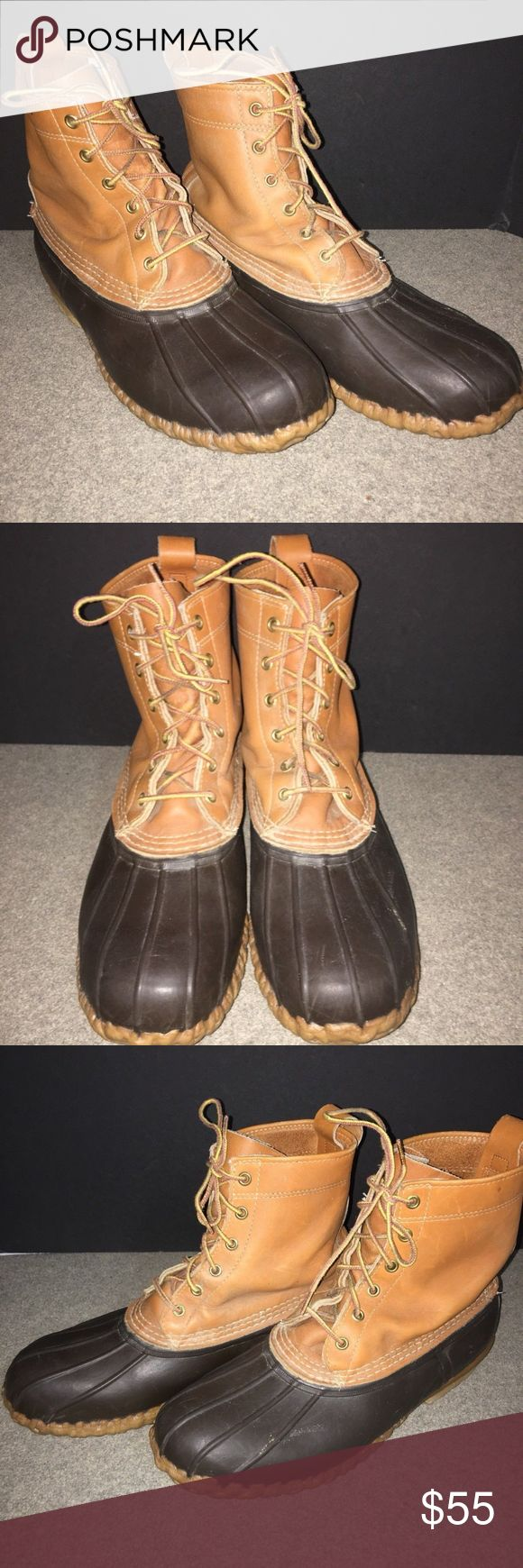 """LL Bean 8"""" Leather Rise Duck Boots Mens Size 10 Very nice pair of duck boots. Previously owned, but well cared for LL Bean Duck Boots Men's Size 10. 8"""" Leather Rise above the """"Duck"""" Boot L.L. Bean Shoes Boots"""
