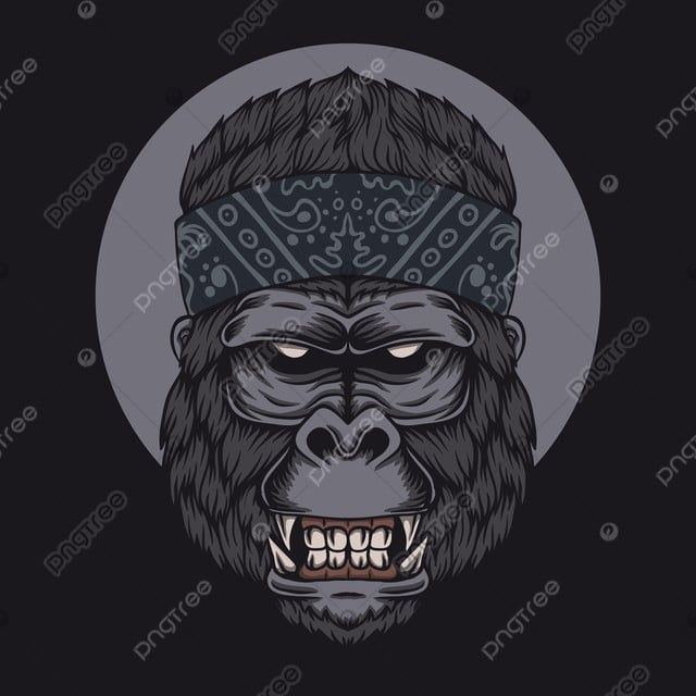 Gorilla Head Bandana Vector Illustration Angry Animal Ape Png And Vector With Transparent Background For Free Download Head Bandana Gorilla Vector Illustration