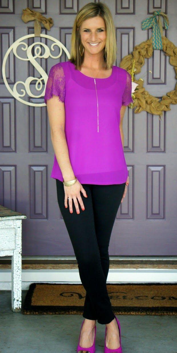 41Hawthorn McQue Solid Lace Sleeve Blouse @stitchfix #stitchfix PROS: COLOR! love it.