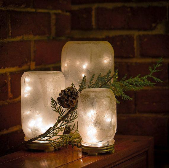 Handmade Decorative Mason Jar Lamp SET by AngiViper on Etsy, $40.00