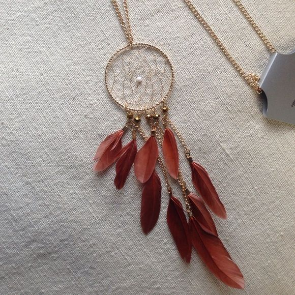 Dream Catcher Necklace Gold tone necklace with a beautiful dream catcher and brown feathers Jewelry Necklaces