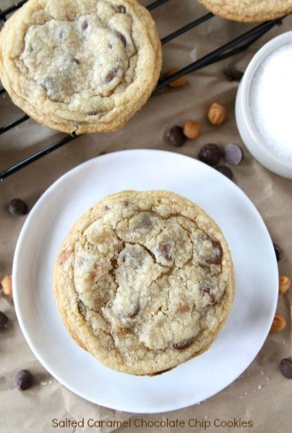 Salted Caramel Chocolate Chip Cookie Recipe on twopeasandtheirpo... Soft chocolate chip cookies with caramel and sea salt! Everyone always asks for this recipe!