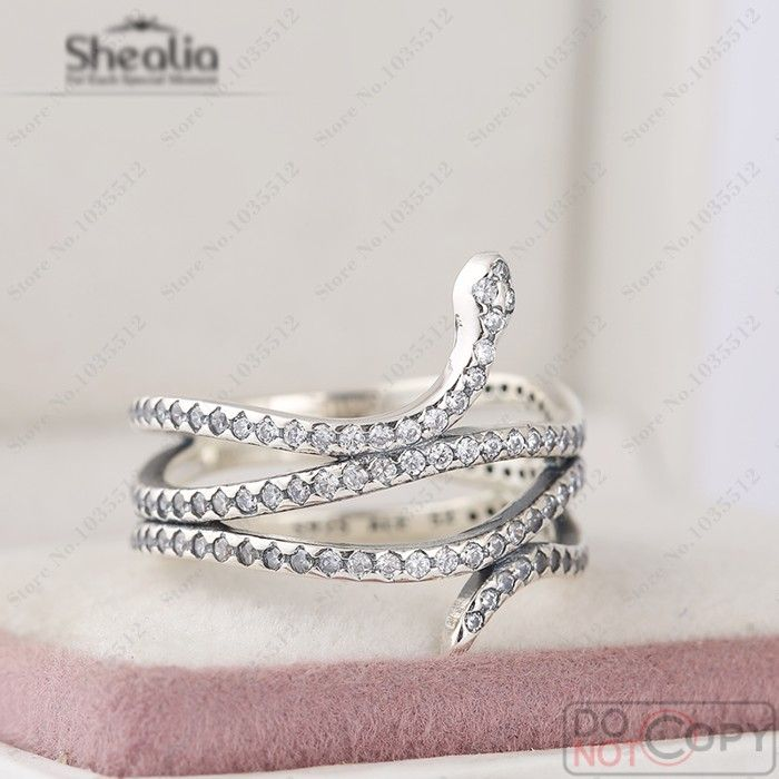 2016 Autumn Clear CZ Pave Swirling Snake Silver Ring 925 Sterling Silver Wedding Rings For Women European Style Jewelry Diy