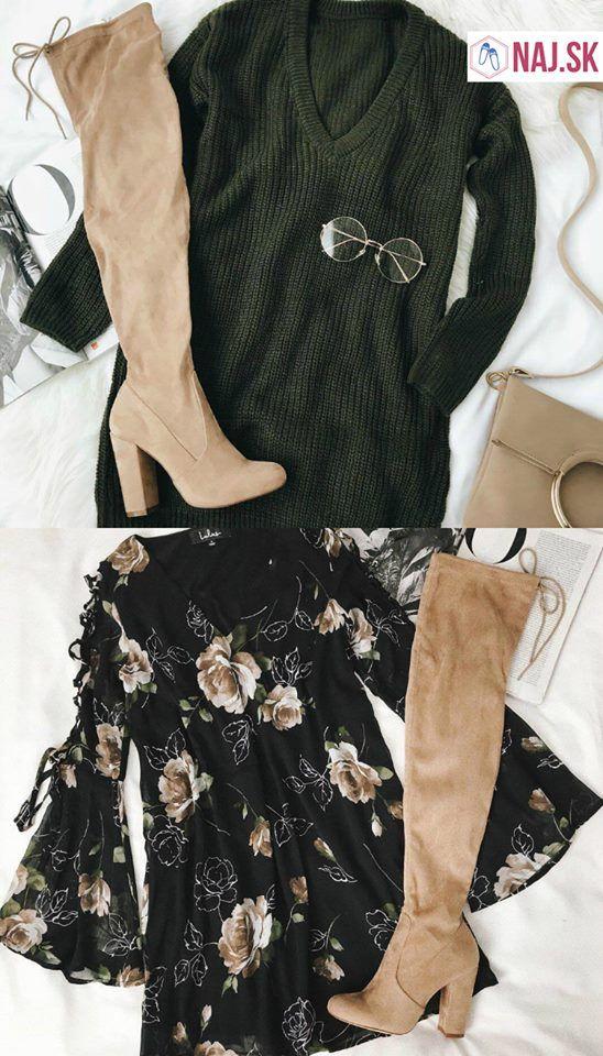 čižmy, béžové čižmy, čižmy na opätku, čižmy nad koleno, okuliare, zelený pulover, šaty s kvetmi, kabelka, listová kabelka, crossbody kabelka, postel, naj.sk