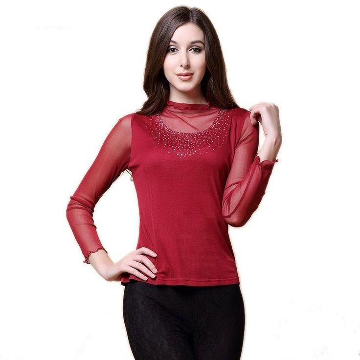 Women's 100% Pure Silk T-Shirt Full Sleeve Diamonds and Mesh