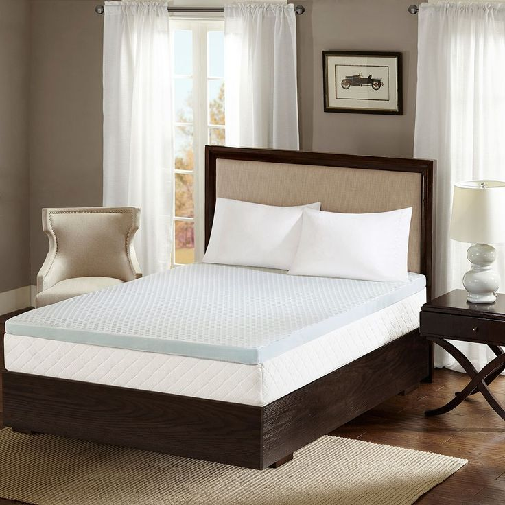 Flexapedic by Sleep Philosophy 2-Inch Gel Memory Foam Mattress Topper with Cooling Cover, White