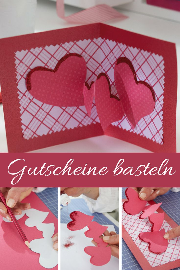 Ein persönlich gestalteter Gutschein ist doch gleich wesentlich schöner, als einen einfachen Strauß Blumen zu schenken!  #valentinesday #valentinstag #geschenkidee #geschenke #gutschein #diy #basteln #bastelidee #bastelanleitung