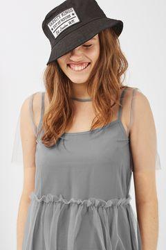 Mesh Overlay Midi Dress