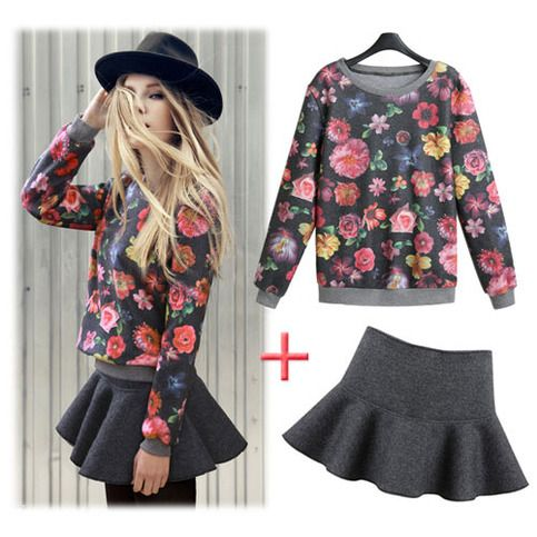 "Style: Fashion   Material: Cotton   Color: As picture   Sweatshirt Size: One size Bust:98CM(38.58"")  Shoulder:37-39CM(14.57"" to 15.35"") Sleeve Length:54CM(21.26"") Length:60CM(23.62"")  Skirt Size: M /L  M: Length:35CM(13.78"")  Waist:68-70CM(26.77"" to 27.56"")  L: Length:38CM(14.96"")  Wai..."