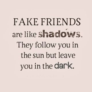 Life Quote  Fake friends are like shadows. They follow you in the sun but