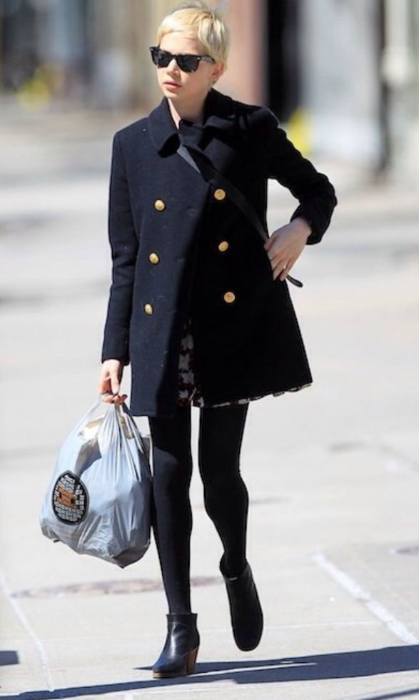 Petite Fashion:: Autumn or Winter: Navy Double-Breasted Coat, Cut Floral Dress, Leggings or Tights, and Booties. ♡