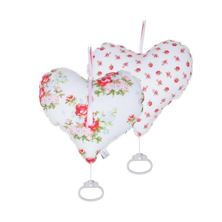 Spieluhr Herz weiß mit rosa Rosen