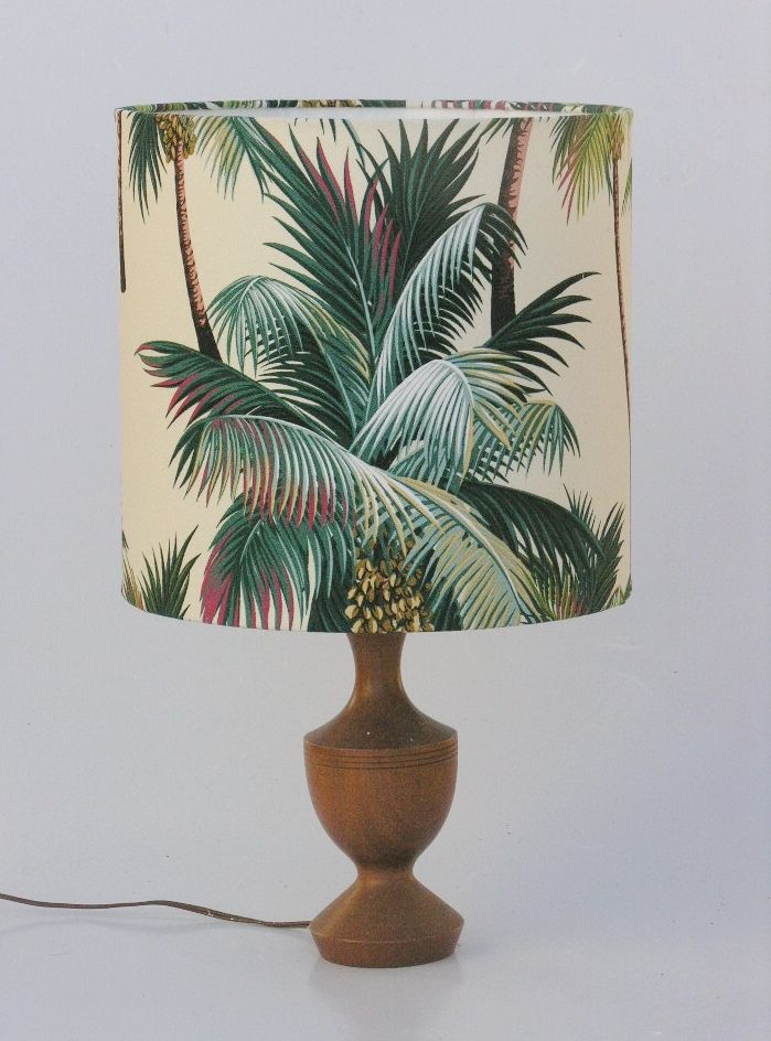 """Beautiful """"Tropical Palm Trees"""" fabric is genuine barkcloth! Features Coconut Palms. Shade comes in all manner of sizes."""