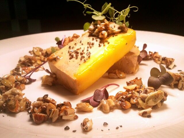 Foie Gras Terine with nuts, seeds and salted honey