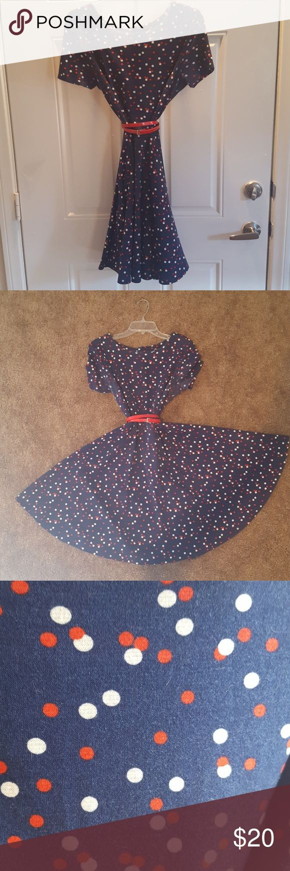 CUTE H&M Polka Dot Dress! Navy Dress with Red and White Polka Dots and dainty red belt. Fitted in the top, great flare skit that comes to just above the knee. Pair it with a red camo sweater, or navy tights! Fun for everyday or a great, casual night out! H&M Dresses Midi