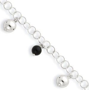Sterling Silver & Onyx Beaded Polished with 1in ext. Anklet Real Goldia Designer Perfect Jewelry Gift goldia. $22.72