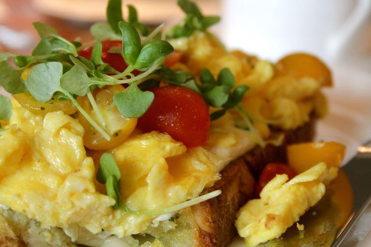 Bruschetta Scramble Eggs with Vine Ripe Tomatoes and Buffalo Mozzarella