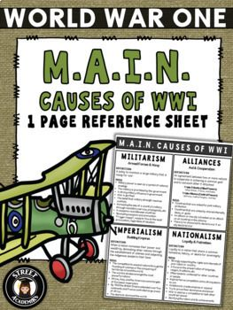 $1.75 - An excellent resource for middle and high school history courses studying the M.A.I.N. causes of WWI. I have also enlarged this reference sheet to poster size and posted them around the classroom.