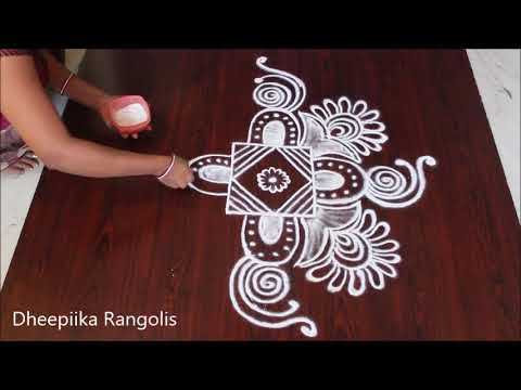 latest free hand rangoli designs - beautiful kolam designs without dots - how to draw rangolis - YouTube