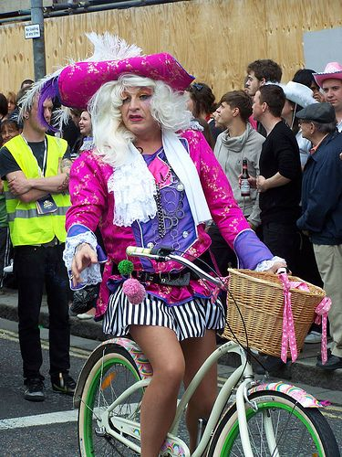 perfect drag queen on a bicycle
