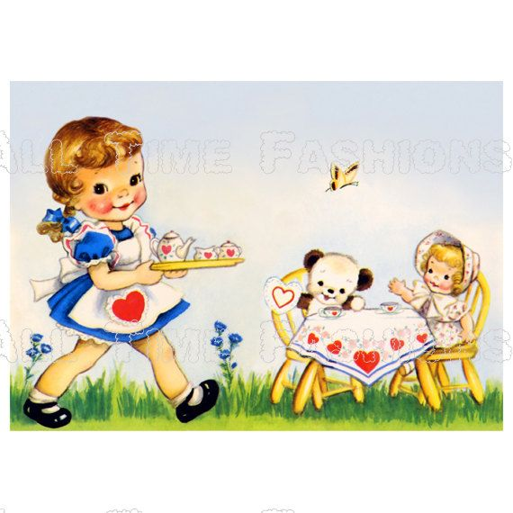 Clipart vintage dolly tea party
