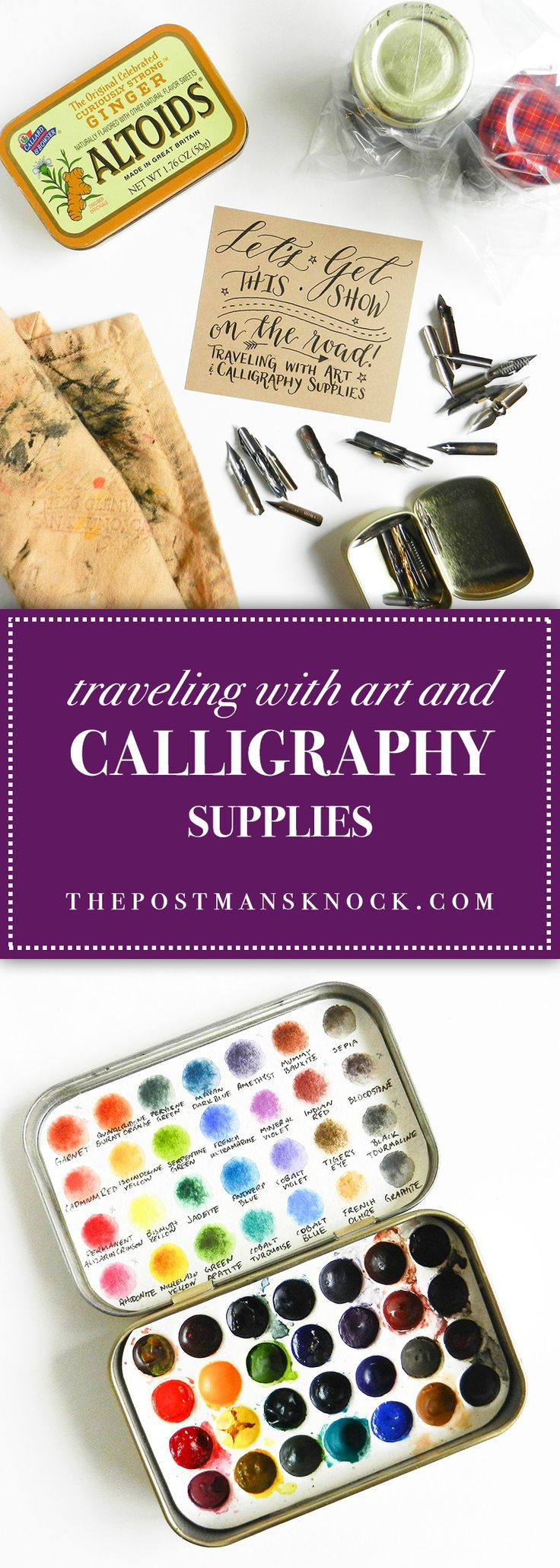 Traveling with art and calligraphy supplies isn't as much of a challenge as it may seem to be! Follow these tips, and you'll {literally} be good to go!