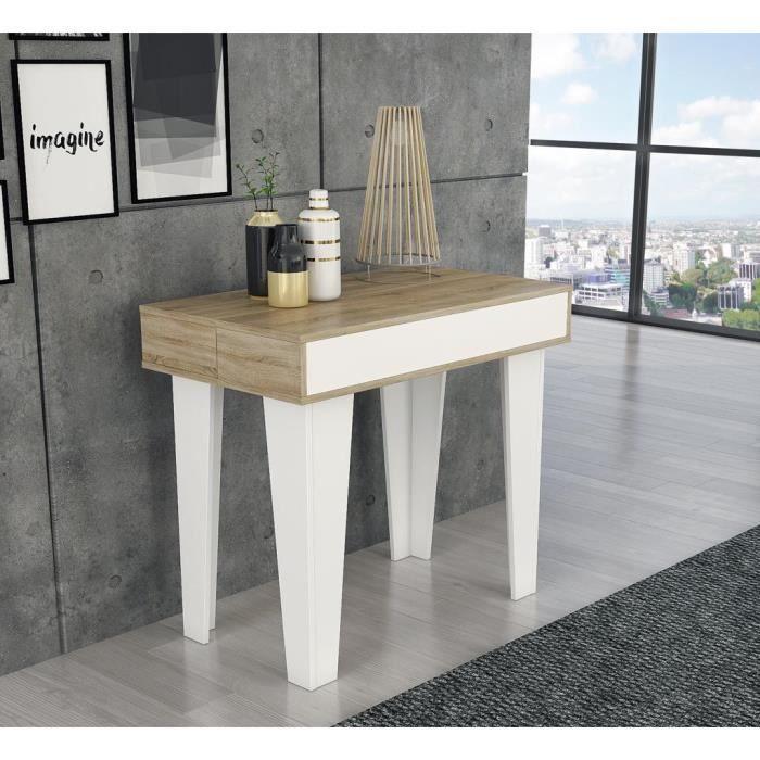 Table Console Extensible Avec Rallonges Nordic Kl 237 Cm Style Scandinave Salle A Manger Et Sejour Blanc Mat Chene Brosse Table Console Extensible Console Extensible Table A Manger Extensible