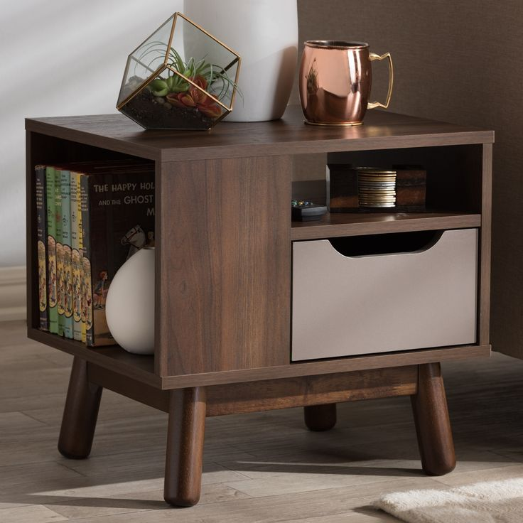 Mid-Century and Grey Nightstand by Baxton Studio