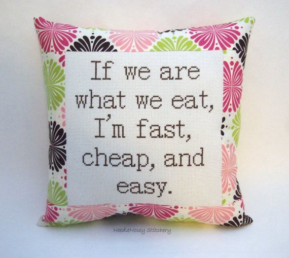 Funny Cross Stitch Pillow Pink Green And Brown by NeedleNosey, $25.00