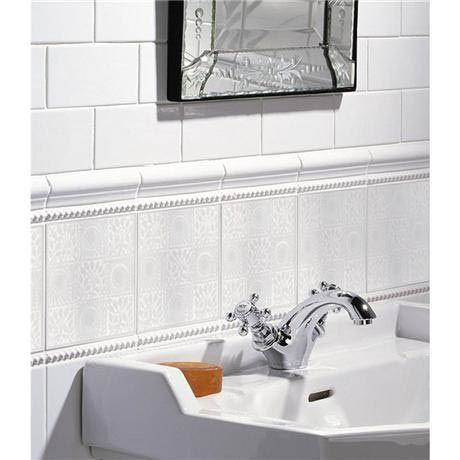 White 9 Square Decor Wall Tile - 152x152mm Profile Image