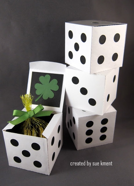 Sandra @ ribbonsandfavors.com  Inspiration photo. Use a square  kraft white favor box, we suggest a 2x2x2 or 4x4x4 size.  Use a round punch to make dots from black paper and glue on the outside of the boxes in dice pattern. Another great idea!
