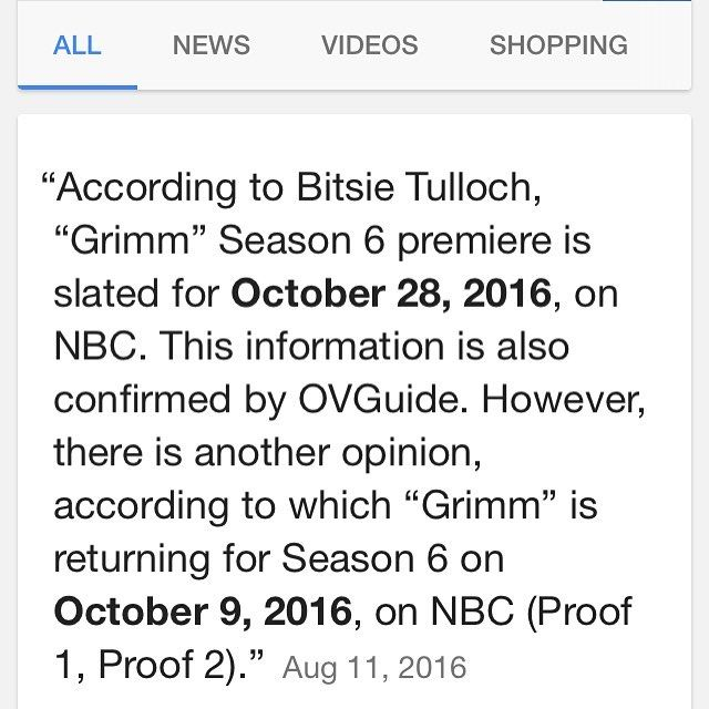 I like just found out that there might be a different air date for Grimm season 6 at first I thought it would be like early November then I when online and if this is right if they change the air date season 6 will actually air earlier.  #savegrimm #savegrimmformoreseasons #grimm #grimmplsdontend #grimmpleasedontend #nogrimm=