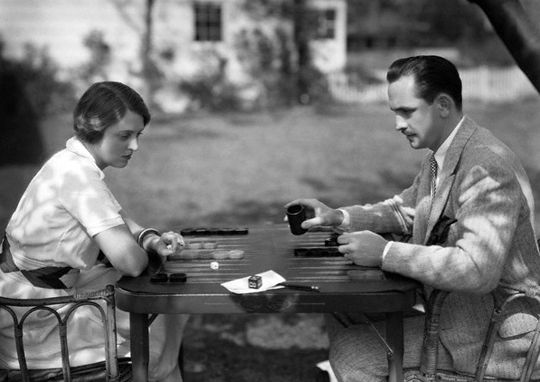 Celebrity backgammon players - Frederic March and Florence Eldridge;                  Online Backgammon > on.fb.me/1869cF3
