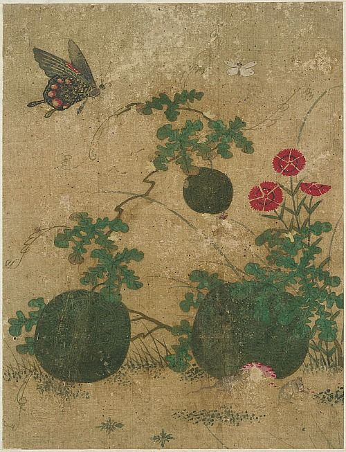 Shin Sa im tang, Garden Scene with Watermelons, Pinks, Butterflies and Mice, 17th century