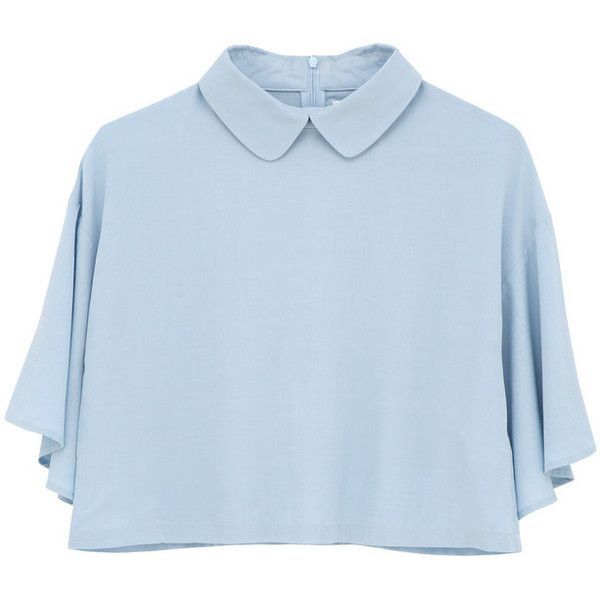 Bell Sleeve Angel Crop Top Light Blue ($28) ❤ liked on Polyvore featuring tops, shirts, crop top, blouses, light blue shirt, blue top, flared sleeve top and crop shirts
