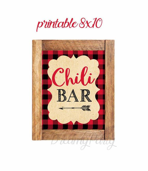 Chili Bar Lumberjack Sign Chili Bar Sign by DreamyPartyPrintable
