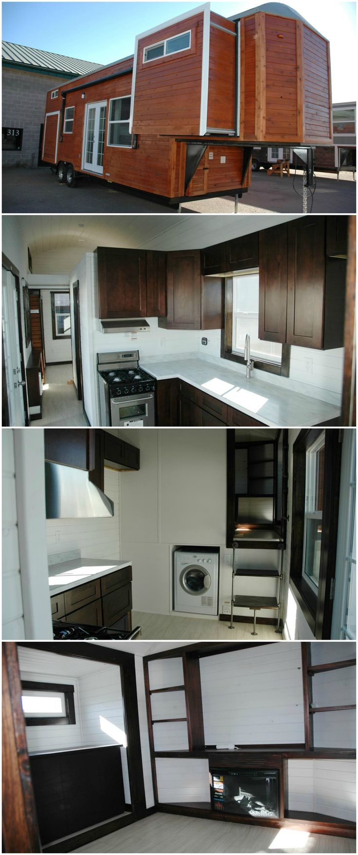 The Carpathian is a lovely tiny house built by Tiny Idahomes.  This model includes three slide outs — two in the living room over the gooseneck and one in the rear bedroom. It has a front living room/bedroom with a Murphy bed in one of the slide outs, a full size bathroom, and bedroom in the rear.  The kitchen uses mahogany cabinets, Corian countertops, and a 20″ stainless steel range. The double basin kitchen sink comes with a Corian cover so it can be used as countertop space while not in…
