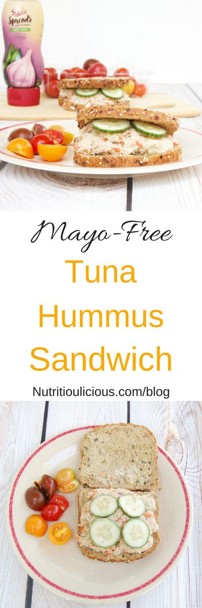 Mayo-Free Tuna Hummus Salad Sandwich   The classic tuna sandwich gets an upgrade with this mayo-free tuna hummus salad, perfect for the kids' lunchbox or anyone's mid-day meal! Get the dairy-free recipe @jlevinsonrd. (AD)