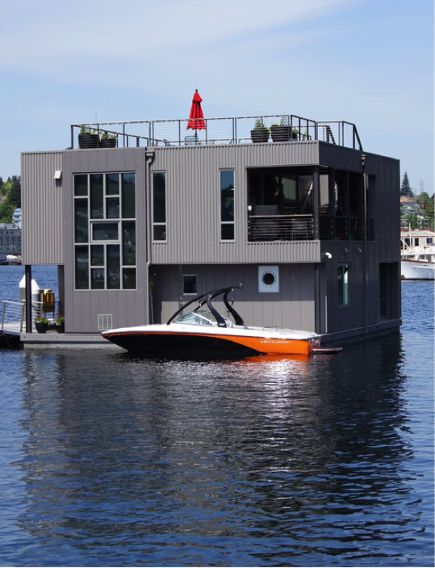Would you live on a houseboat? Seattle-based architect, David Olson, created a modern steel structure with 360 degree views.
