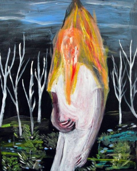 Dario Carratta, Burning body, 2014, oil on canvas, 50 x 40 cm - courtesy artlabgallery
