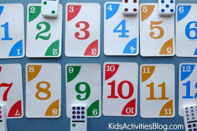 Cool math game for kids for learning numbers - using playing cards and dominoes.