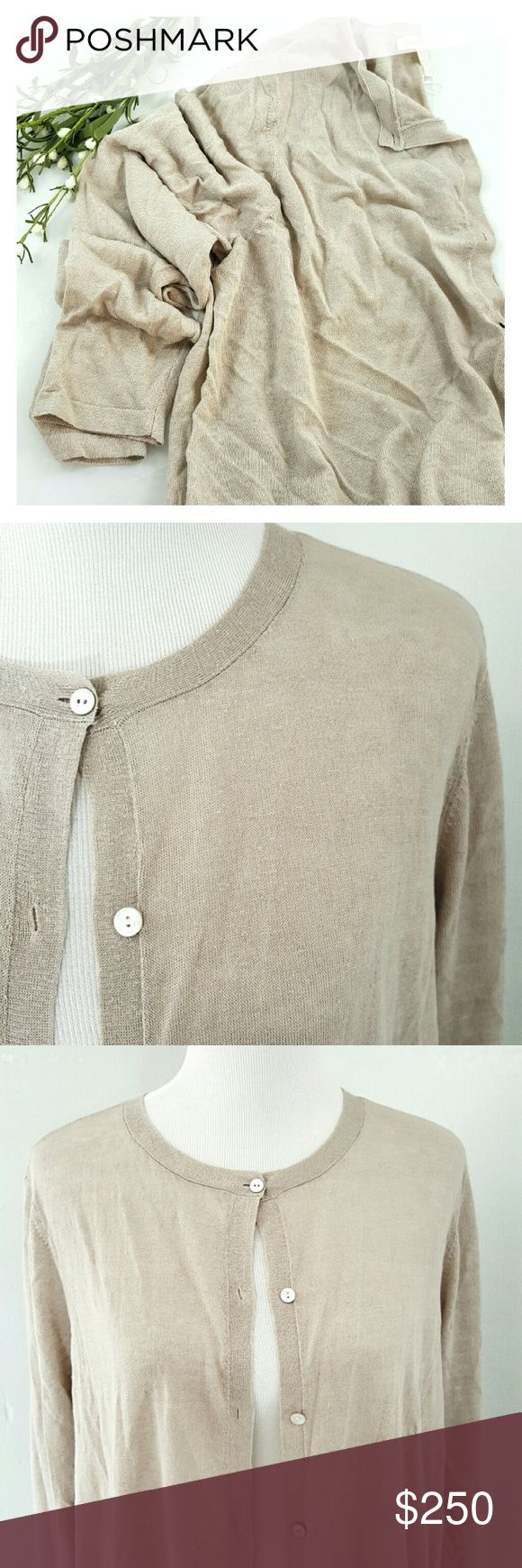 EILEEN FISHER Lightweight Organic Cardigan Amazing lightweight cardigan by Eileen Fisher, perfect for every season! Natural bone color, long button down, long sleeve, italian yarn, fine organic linen crepe knit.  Brand new with tags from Nordstroms.  Size XL Eileen Fisher Sweaters Cardigans