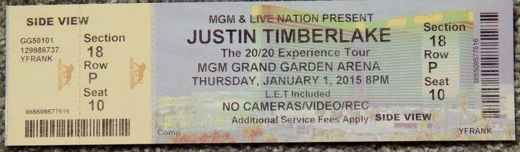 JUSTIN TIMBERLAKE 20/20 ORIGINAL CONCERT USED TICKET, MGM VEGAS, JANUARY 1 2015