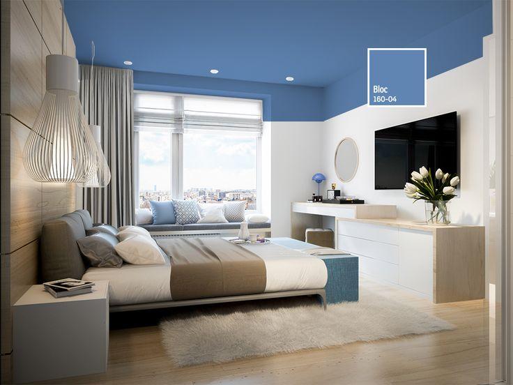 Aprovecha la luz de tus espacios dándole color a los techos de tu dormitorio. Esta tendencia de decoración hará que el espacio luzca mucho más amplio.