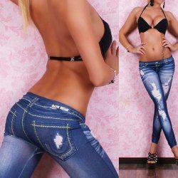 Stylish Bleach Wash Hole Jean Legging For Women 8% Coupon TDCPY01